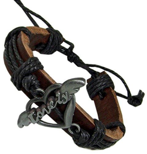 Kaltner Präsente Lovely Leren armband, lederen armband, echt leer, met hart en tekst
