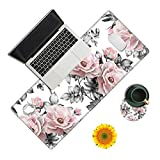 Desk Pad, Pink Flower Laptop Desk Mat,Long Large Gaming Mouse Pad with Stitched Edges Non-Slip Writing Mat Desk Blotter Protector for Office Home (with Coaster & Sunflower Sticker
