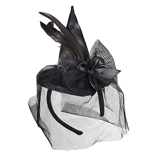 Widmann 9369S – Minihexenhut auf Haarreifen, mit Federn und Schleier, schwarz, Kopfbedeckung, Accessoire, für Hexenkostüme, Halloween, Karneval, Motto Party