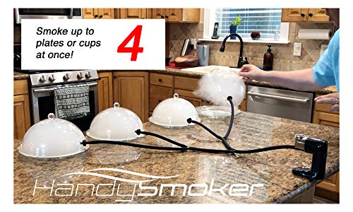 Read About Handy Smoker PRO 4 Way Expansion Kit - Infuses Real Wood Smoke into 2, 3 or 4 Domes or Co...