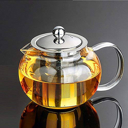 Glass Teapot with Removable Infuser & Blooming and Loose Leaf, Iced Tea Maker & Brewer Teapot with Infuser forLoose Leaf Tea Maker Set (21oz)