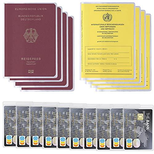 UNOLIGA 12 Tarjetero Plastico Funda Tarjeta de Crédito y Identificación, 4 Porta Pasaporte Funda Pasaporte Portadocumentos Viaje, 4 Funda Protectora de Certificado de Vacunación para Hombre y Mujer