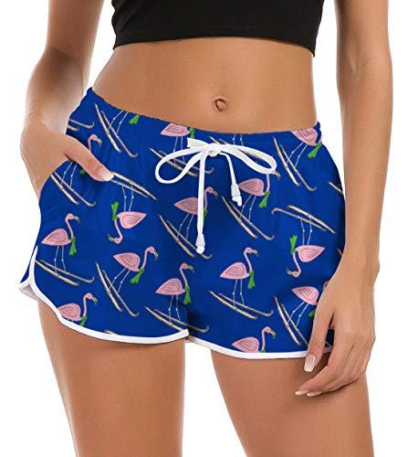 Damen Flagmingo Schwimmshorts Sommer Hosen Hot Pattern Schnell Trocknendes Bademode Badeanzug Shorts Mädchen Kurze Hose Hawaiian Holiday Pyjama Hosen mit Dem Elastischem Bund M