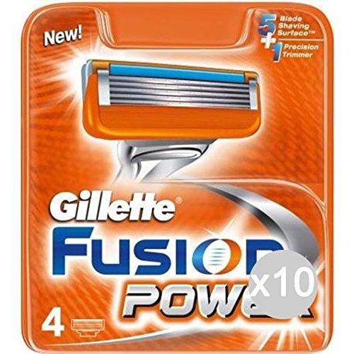 Juego de 10 recambios Gillette Fusion Power X 4 afeitadora para el rostro y el cuerpo