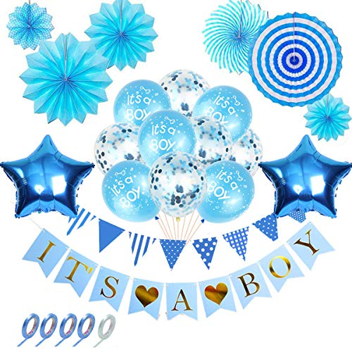 BOYATONG 25 Stück Babyparty Deko Junge, Blau Junge Party Dekoration Set mit Latexballons/Folienballons/Wimpelkette Wimpel/It\'s A Boy Banner/Papierfächer für Baby Shower/Geburtstag Party Dekoration