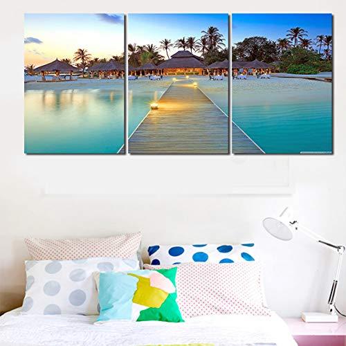 MMLFY 3 afbeeldingen op canvas 30x40cm 3pcs Oningelijst 3 platen brug Zelandschap Canvas Print Schilderij Moderne muurkunst Blue Sea Strand en Bomen Wanddecoratie Decoratie