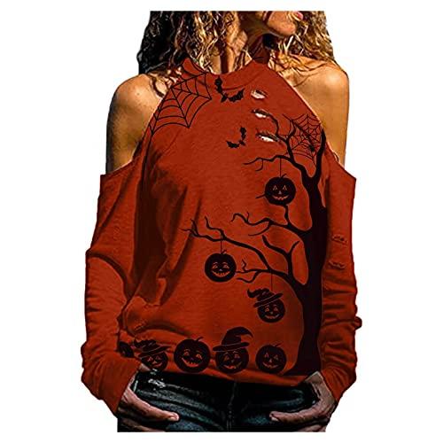 SHOBDW Barato Mujer Camisa Hombro de Fuga 2021 El Nuevo Cabestro Chaqueta Pullover Sudadera Cuello Redondo Moda Suelto Tallas Grandes Otoño Tops(Rojo,XXL)