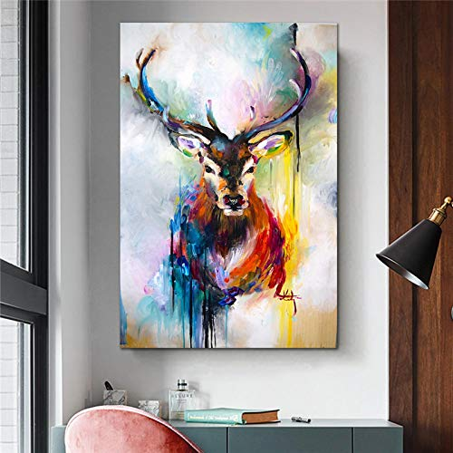 XIANGPEIFBH Vertical Colorful Elk Animal Canvas Painting Modern Bedroom Wall Decoration Canvas Prints Home Decor Art artwork 60x80cm(24'x32') Unframed
