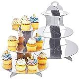 2 Unidades Soporte de Magdalenas de Cartón 3- Nivel, Soporte para Cupcakes Postre de Plata para Baby Showers, Cumpleaños, Fiesta