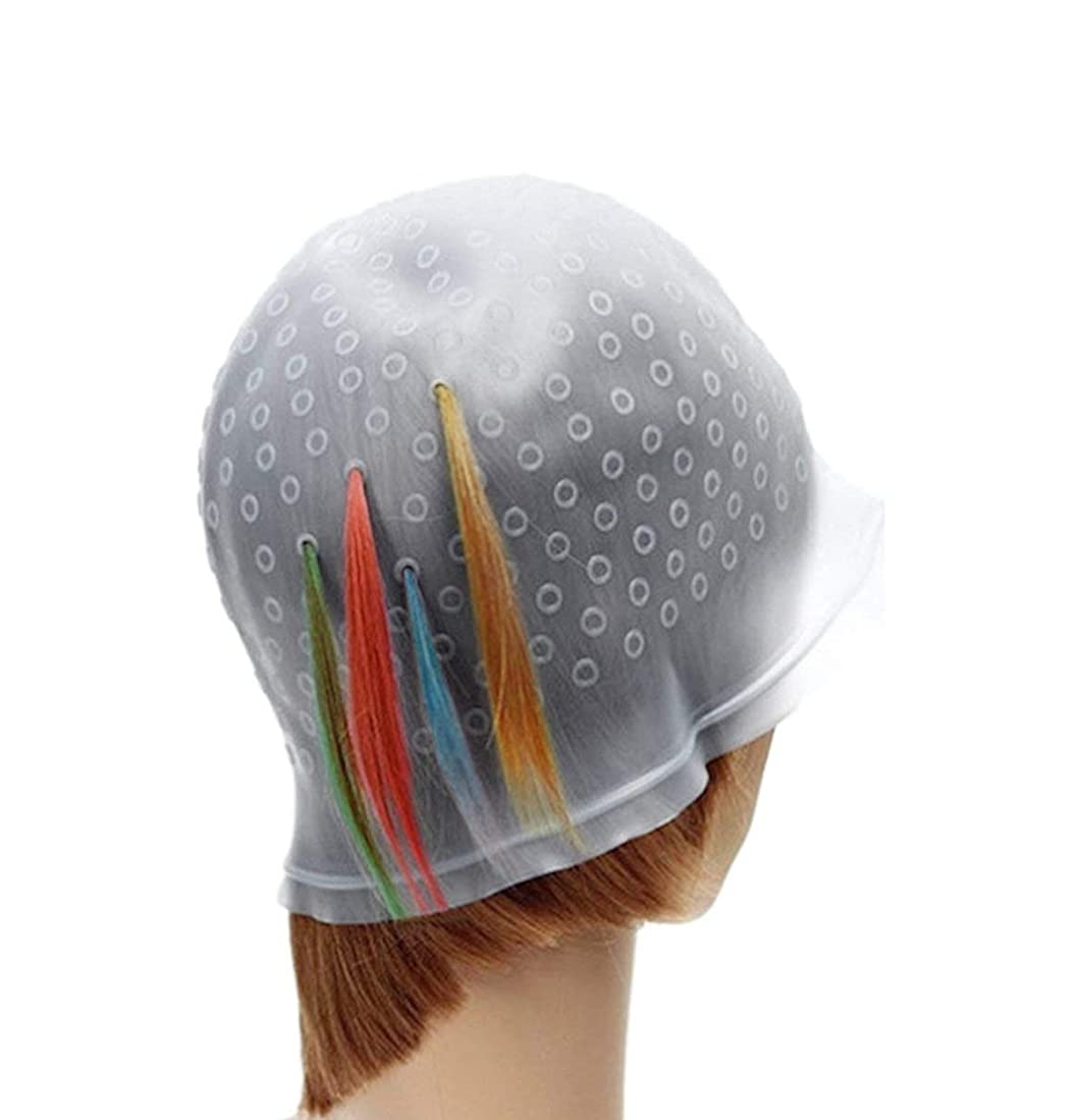 傾向餌ブランクFC-工場 毛染め用 シリコン ヘア キャップ キャップ 染め専用 ボンネット ヘアカラー ヘア キャップ メッシュ ウィービング 洗って使える 毛染め 3D ハイライト ローライト キャップ 穴あけポンチ (透明)