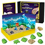 NATIONAL GEOGRAPHIC Gemstone Play Sand - 2 lb of Play Sand, 6 Molds, 6 Real Gemstones, A Kinetic Sensory Sand Activity Kit for Boys & Girls
