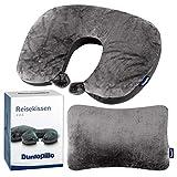 Dunlopillo 2 in 1 Reisekissen und Nackenhörnchen 31x21 cm - Nackenkissen für das Flugzeug & zum Reisen - Travel Pillow - Ergonomisches Kopfkissen mit Microperlen - 2