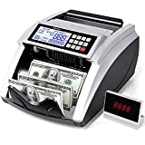 PONNOR Money Counter Machine,Bill Counting Machine with UV/MG/IR/MT/DD Counterfeit Detection,Portable Cash Counting Machine with 2 LCD Displays&7 Modes,Fast Counting Speed 1,000 Bills/Min