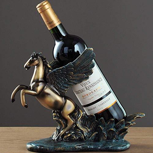 Nologo SunHeMing Europäische Pegasus Stil Weinregal Porch Desktop-Dekoration Weinklimaschrank Bar Hotel Winery Restaurant Kater Bracket Personality Kreative Dekorationen Gold-Stilvoll und schön