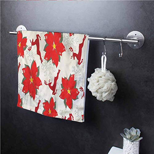 Christmas Glass Cleaning Cloths Polyester high Absorption Poinsettia Reindeer 12' W x 36' L