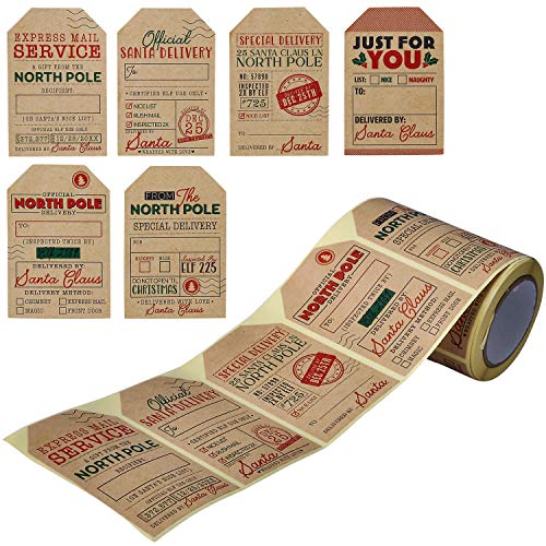 JOYIN 120 Pcs Kraft Paper Sticker Roll, Tags for Xmas Gift Wrapping, Sticker Labels
