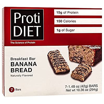 ProtiDiet Protein Bar - Banana Bread (7/Box) - High Protein 15g - Low Calorie - High Fiber