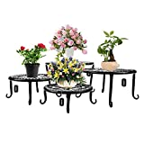 Metal Plants Stand Flowerpot Holder Iron Art Pot Holder, AISHN Flower Pot Supporting Indoor Outdoor Garden Pack of 4pcs with Different Size (Black)