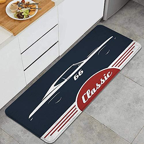 VAMIX Küchenläufer,Klassische Vintage Sportwagen Muskel Fahrzeug Silhouette altmodisch,Küchenmatte Küchenteppich rutschfeste Waschbar Teppich Küche Fußmatte