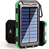 Taoxiwave Solar Charger Solar Power Bank 20000mAh Waterproof Portable External Backup Outdoor Cell Phone Battery Charger with Dual LED Flashlights for Compatible with All Smartphone (Black & Green)