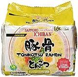 SAPPORO ICHIBAN Instant Ramen (TONKOTSU) (5 Count of 3.7 Ounce Packs), 18.5 Ounce