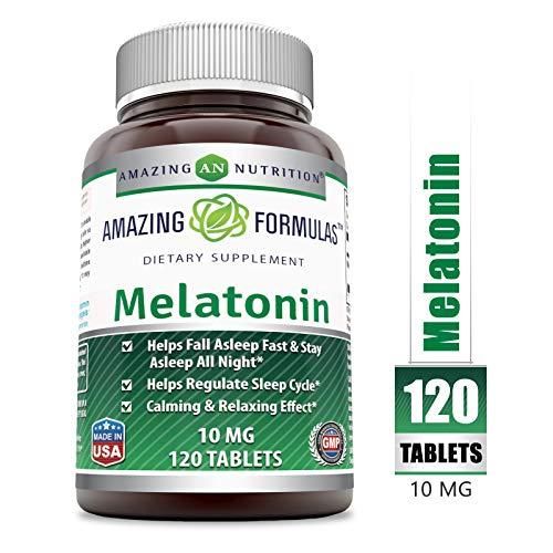 Amazing Nutrition Melatonin10Mg 120 Tablets (Non-GMO, Gluten-Free)- Best ChoiceofNatural Sleep Aid Supplement – Promotes CalmingandRelaxing Effect -SuitableforVegetarian