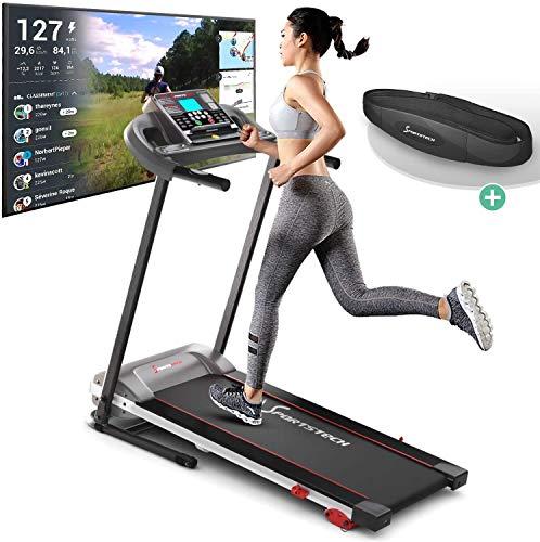 Tapis de Course Sportstech F10 modèle 2020 - Marque de qualité Allemande + Video Events & Multiplayer APP - Nouvelle Console - | 1HP à 10 km/h | Home Trainer avec 13 programmes, Inclinaison + Pliable