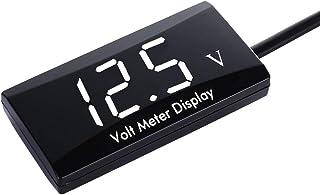 Thlevel 12V Coche Digital voltímetro Impermeable DC 12V Pantalla LED voltímetro para la Motocicleta del Coche Voltaje Volt Meter Gauge (Blanco)