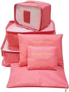 Bolsas organizadoras de equipaje de compresión Cubos de viaje embalaje 6 unidades ( 3 bolsa de malla, 3 lavandería bolsa), Bolsa de lavandería para paquetes de clasificación de ropa Ideal para organizar maletas de mano (Rosa)