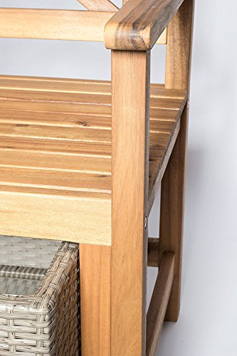 SAM® Gartenbank Flora aus Akazie, inklusive 3 x Polyrattan-Korb, Garten-Möbel aus Holz, geölt & natur, 121 x 60 cm, FSC® 100% zertifiziert, massive Holzbank, pflegeleichtes Unikat - 9