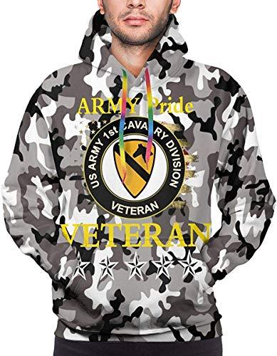 LX-UEX 1st Cavalry Division Men's Sweatshirt Double-Sided Sweater Hoodies Big Pockets-Medium-