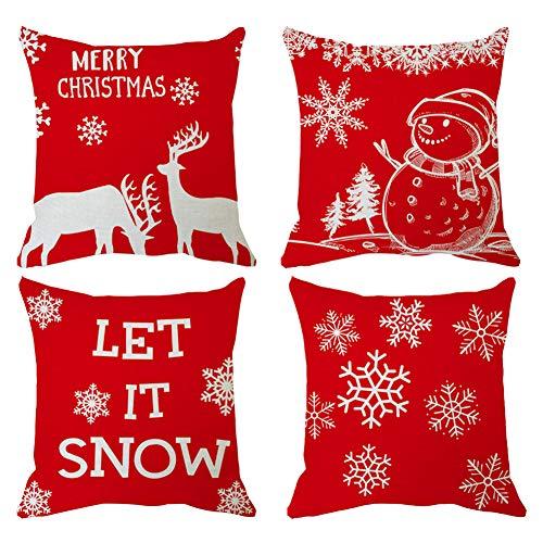 Funda de Almohada de Navidad Fundas de Almohada Rojas Funda de Almohada de Feliz Navidad Fundas de cojín 18 Pulgadas Árbol de Navidad Funda de cojín para sofá para decoración navideña para el hogar