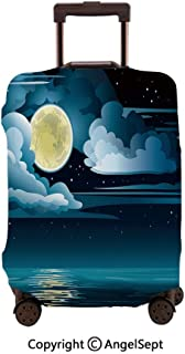 Fashion Travel Suitcase Protector Zipper,Clouds Full Moon and Stars Over the Sea Romantic Fantasy Graphic Black Light Blue Eggshell,23.6x31.9inches,Washable Print Luggage Cover