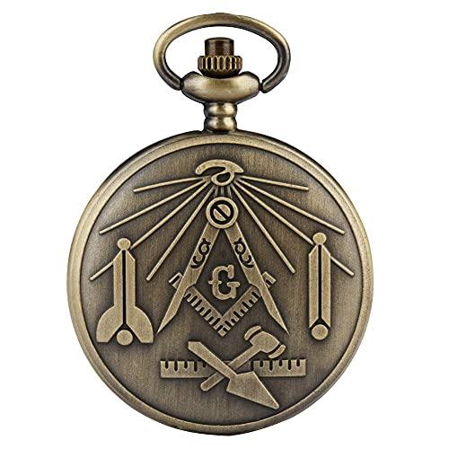 ZJZ Reloj de Bolsillo Retro con Funda de Bronce para Adolescentes, Relojes de Bolsillo de Cadena áspera para Hombres, práctico Reloj con Colgante de Esfera con números árabes