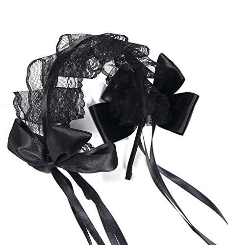 【Angelicate】ヘッドドレス ロリータ カチューシャ コスプレ 黒 仮装 ゴスロリ レース リボン