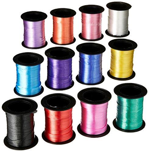 Fun Express Assorted Curling Ribbon Rolls - 60 Feet Per Roll - 12 Rolls Yellow / Blue / Pink, 3/16 Wide
