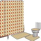 Juego de cortinas baño Accesorios baño alfombras Geométrico Alfombrilla baño Alfombra contorno Cubierta del inodoro Linked Bold Geometric Shapes 70s Vintage Style Minimalist Pattern Boho,Orange Cream