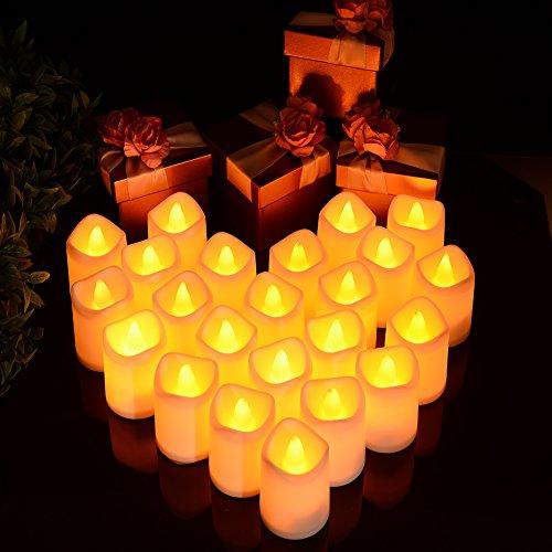 led kerzen LED Flammenlose Kerzen |lunsy Teelichter LED Flackern Kerze für halloween Weihnachtsbaum Ostern Hochzeit Party und mehr (24pcs)