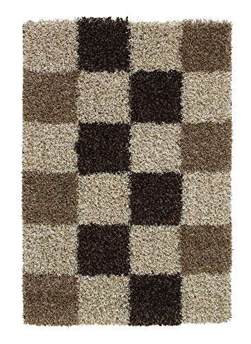Think Rugs Vista Shaggy Flor Karierter Teppich, 100% Polypropylen, groß, Beige (Verschiedene Größen)