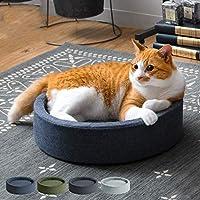 ペット ベッド 洗える 手洗い 通年 ペット用品 猫 犬 ペットベッド クッション ねこ ネコ おしゃれ かわいい 小型犬 円形 ラウンド ネイビー ブルー グリーン カーキ ブラック (ブラック)