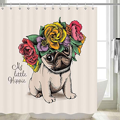 DYNH Mops Duschvorhänge, niedlicher Mops-Hund mit bunten Kranz, Badevorhang, Polyesterstoff mit 12 Haken, 177,8 x 177,8 cm