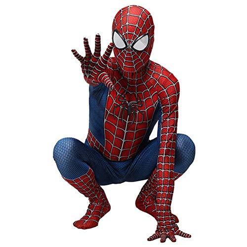 WUHX Unisexe Spiderman Costume Enfant Enfants Superhero Spiderman Lycra Costume Zentai 3D Style Jumpsuit Costumes Halloween Cosplay Bodysuit,C,L 125~140