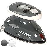 Jago® Mini Bügeleisen - 260-420 W, Antihaft Bügelsohle, Wassertank 40 ml, 100-240 V Netzspannung umschaltbar, mit/ohne Dampf, in Weiß oder Grau - Dampfbügeleisen, Reisebügeleisen