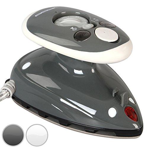Mini Bügeleisen - 260-420 W, Antihaft Bügelsohle, Wassertank 40 ml, 100-240 V Netzspannung umschaltbar, mit/ohne Dampf, in Weiß oder Grau - Dampfbügeleisen, Reisebügeleisen (Grau)