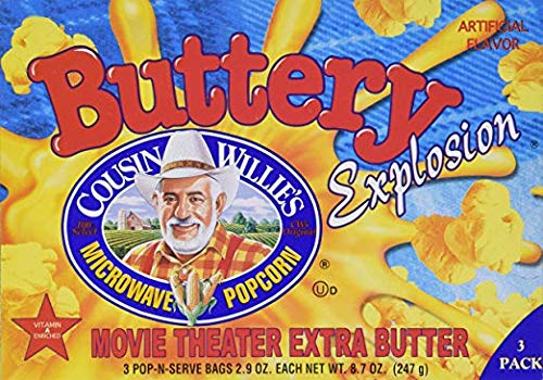 Buy Discount Cousin Willie's Buttery Explosion Microwave Popcorn Movie Theater Extra Butter 8.7 oz (...
