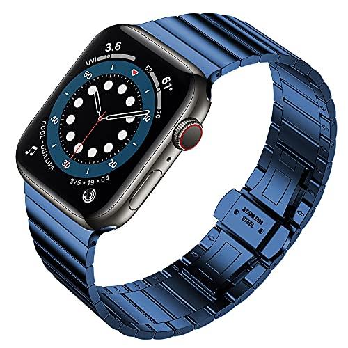 Livronic Correa de acero inoxidable para Apple Watch 6, 44 mm, 40 mm, serie 5, 4, se para pulsera Iwatch 3, 2, 42 mm, 38 mm (color de la correa: azul, ancho de la correa: serie 6, 40 mm)