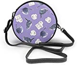 BAODANLA Bolso redondo mujer Women Soft Leather Zipper Round Shoulder Bags - Pets Life Purple Secret Sling Bag