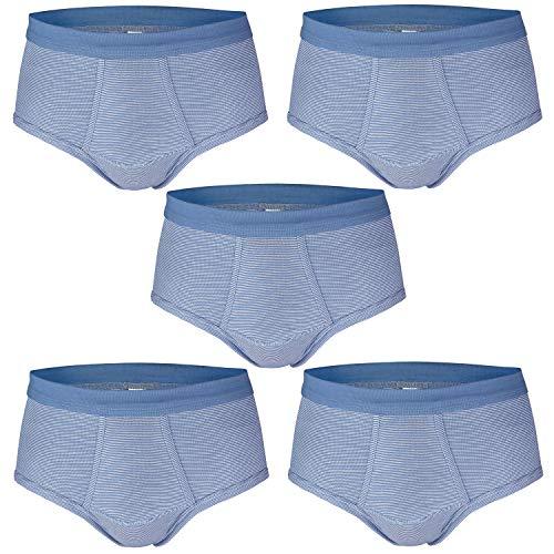 ESGE Herren Slips, 5 Stück, Feinripp Ringel mit Eingriff (XL / 7, Blau)