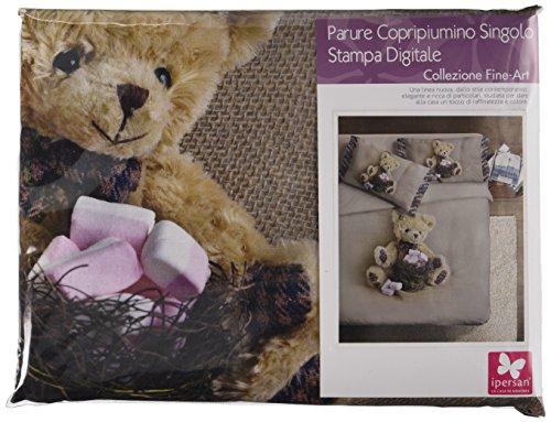 Ipersan Funny Bear Fine Art Parure Copripiumino Piazzato Fotografico a Una Piazza, Singolo, Cotone, Beige o Marrone