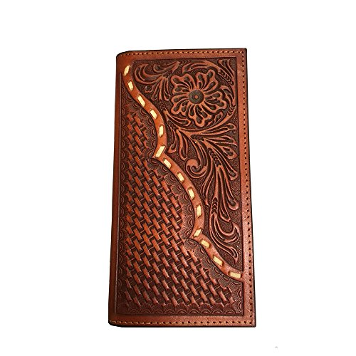 Twisted X Wallet, Rodeo, Leather, Basket/Floral, Rawhide Lace, Brown